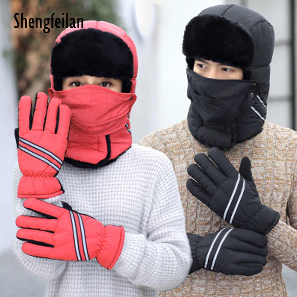 f75f9c4eebf New Winter Windproof Thick Warm Hat glove Winter Snow Large Women Men  unisex Cap Face Mask