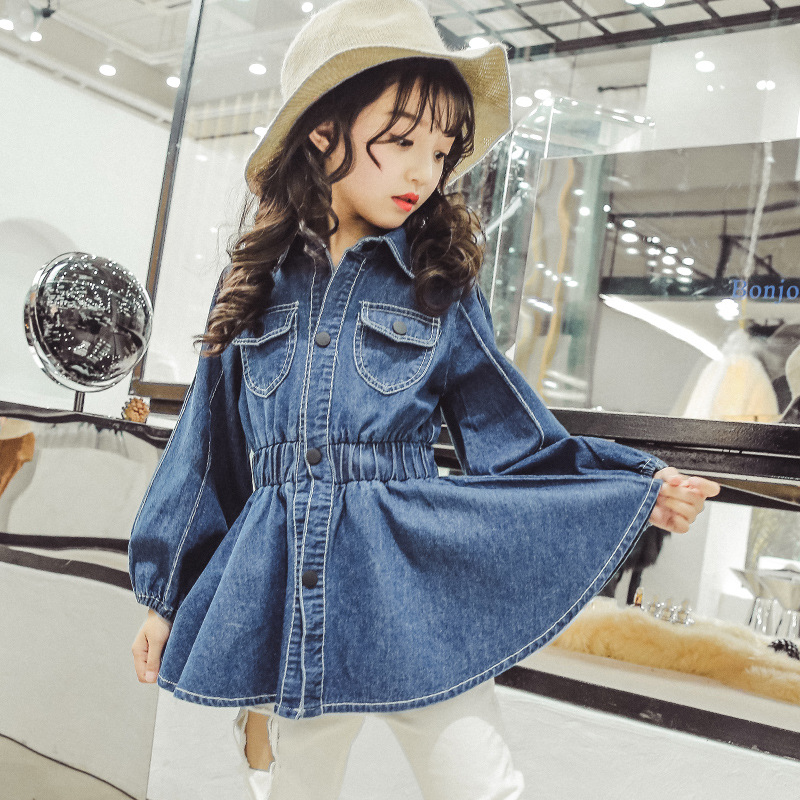 Denim Girl Princess Dress Spring 2018 Long Sleeve Solid Elegant Dresses With Pockets Kids Clothes 4 5 6 7 8 9 10 11 12 13 Years цена