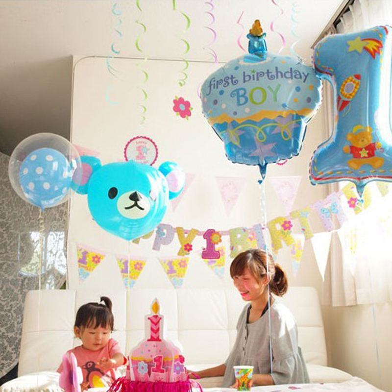 Top 75x44cm Balloon Party Decoration Number 1 Balloons Baby Birthday QD93