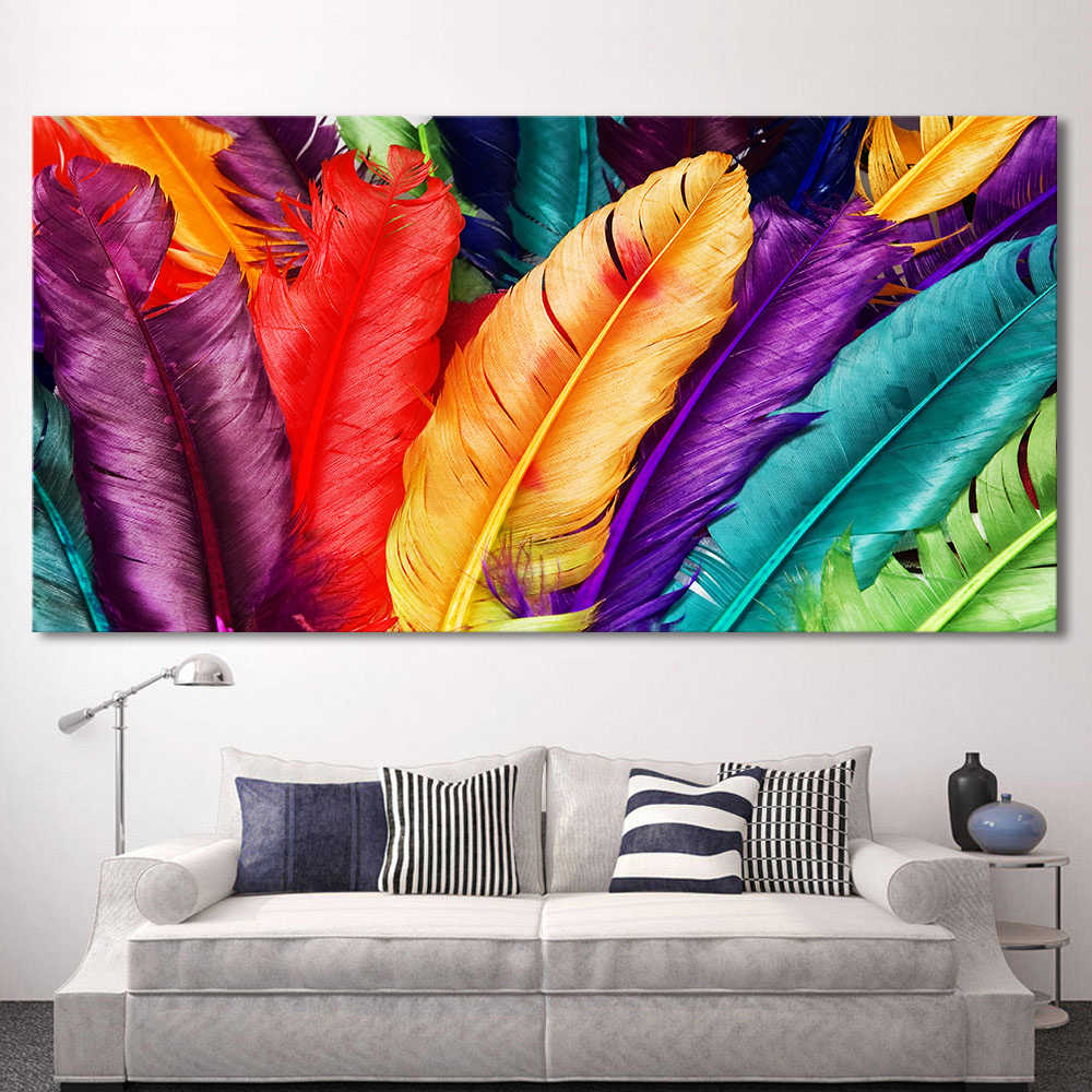 HDARTISAN Canvas Art Still life Colorful Feathers Wall Pictures For Living Room Modern Art Modular Pictures Frameless