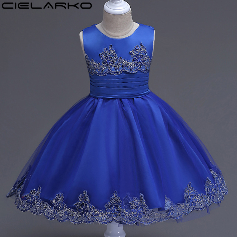 Cielarko Girls Dress Mesh Flower Children Party Dresses Baby Wedding Ball Gown Birthday Kids Frock Christening Clothing for Girl st luce sl202 102 13