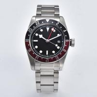 mens automatic GMT watches 41mm watch network steel case Mineral glass GMT hands luxury black/red bezel a3