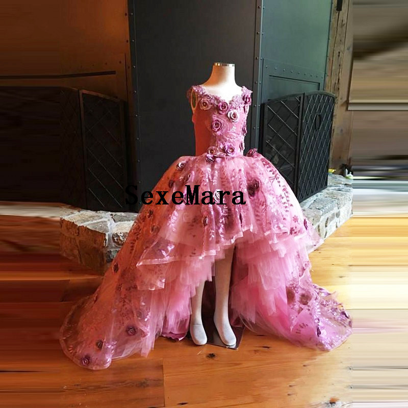 цена на Rose Pink Real Picture Floral Puffy Tiered Floor Length Custom Made Flower Girl Dress for Wedding Celebrity Birthday Maxi Gown