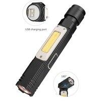 LED 360 grad Rotierenden Taschenlampe COB Arbeits lampe USB Lade licht Schwanz mit Magnet Notfall lampe-in LED-Taschenlampen aus Licht & Beleuchtung bei