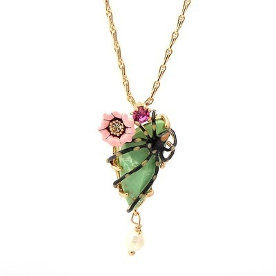 New Arrivals Spider Turquoise Flower Long Necklace Gold-plated Women Ornaments Free Shipping