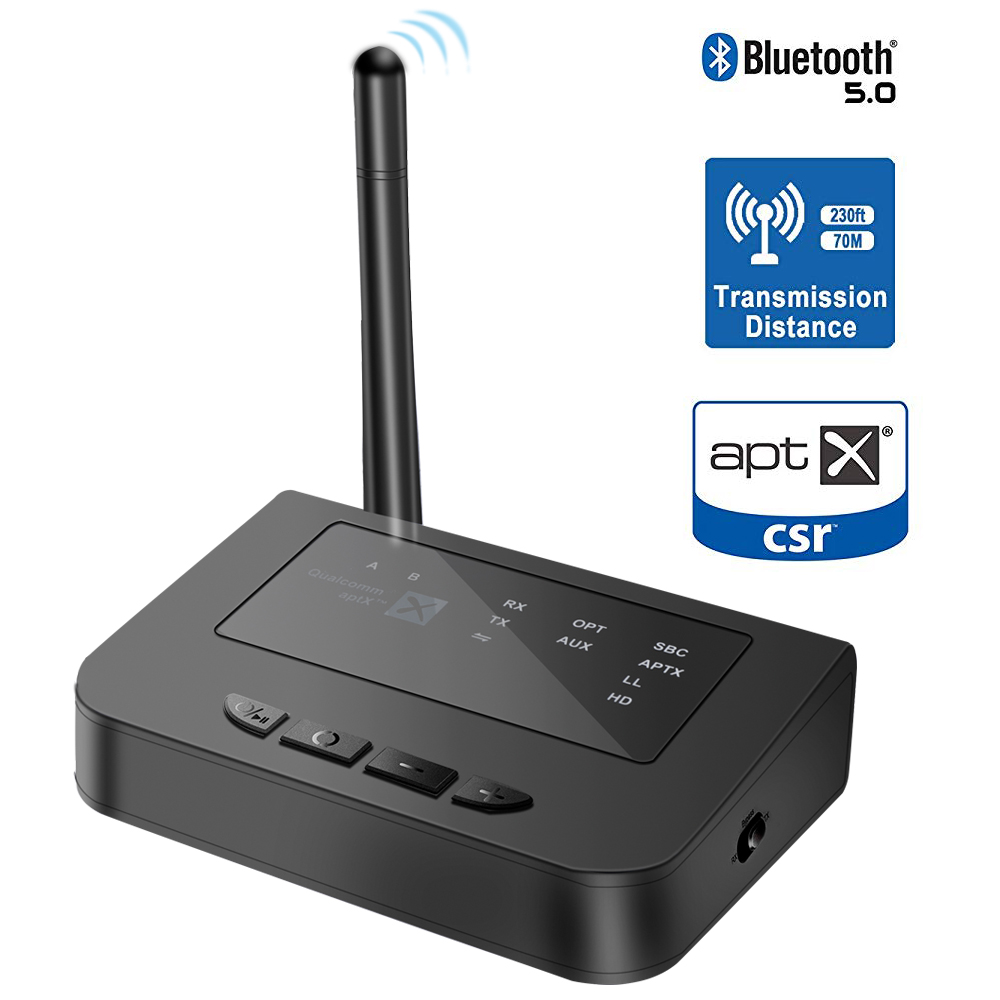 Bluetooth 5.0 double lien émetteur récepteur 3 en 1 adaptateur Audio sans fil aptX HD & APX AUX pour TV accueil stéréo casque haut-parleur