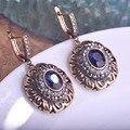 Azul de la vendimia Redonda de Piedra Pendientes de la Joyería Turca Pingente Max Brincos Bijuterias Pendientes Grandes Princesa de los Ganchos Del Oído Accesorios