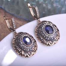 Vintage Blue Round Stone Earrings Turkish Jewelry Bijuterias Max Brincos Pingente Big Earrings Princess Hooks Ear Accessories