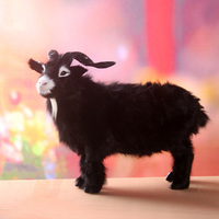 Large 40x30cm Black Sheep Toy Real Fur Hard Model Decoration Gift H1232