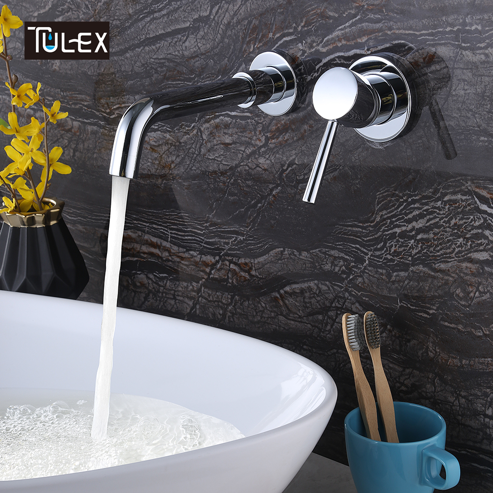 TULEX Bathroom Basin Mixer Sink Tap Brass Wall Mounted Faucet Chrome Crane Single Handle Mixer Tap Hot And Cold Water On sale xoxo modern bathroom products chrome finished hot and cold water basin faucet mixer single handle water tap 83007