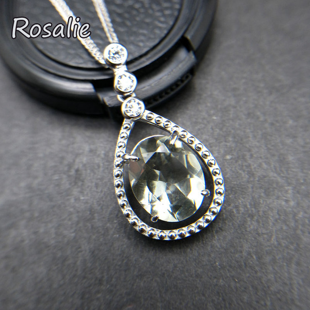 Rosalie,Natural 4.1ct Green amethyst pear drop gemstone pendant classic design 925 sterling silver for girls daily wear gift