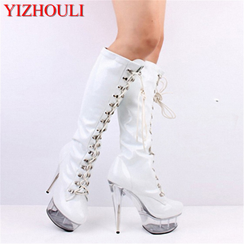 Classics sexy round toe black matte PU platform boots sexy clubbing 15cm high-heeled shoes 6 inch lady fashion knee high boots 20cm pole dancing sexy ultra high knee high boots with pure color sexy dancer high heeled lap dancing shoes