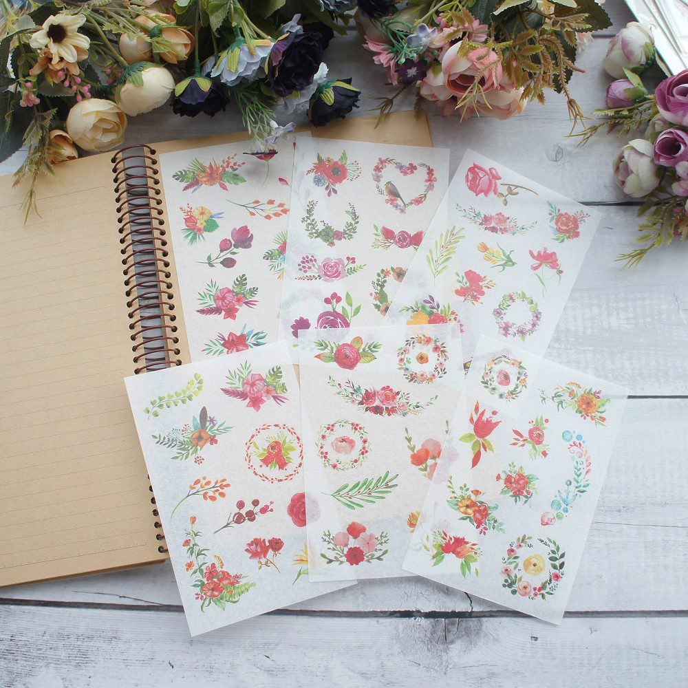 6 Sheets Bright flowers Style Paper Sticker Scrapbooking DIY Gift Packing Label Decoration Tag Party