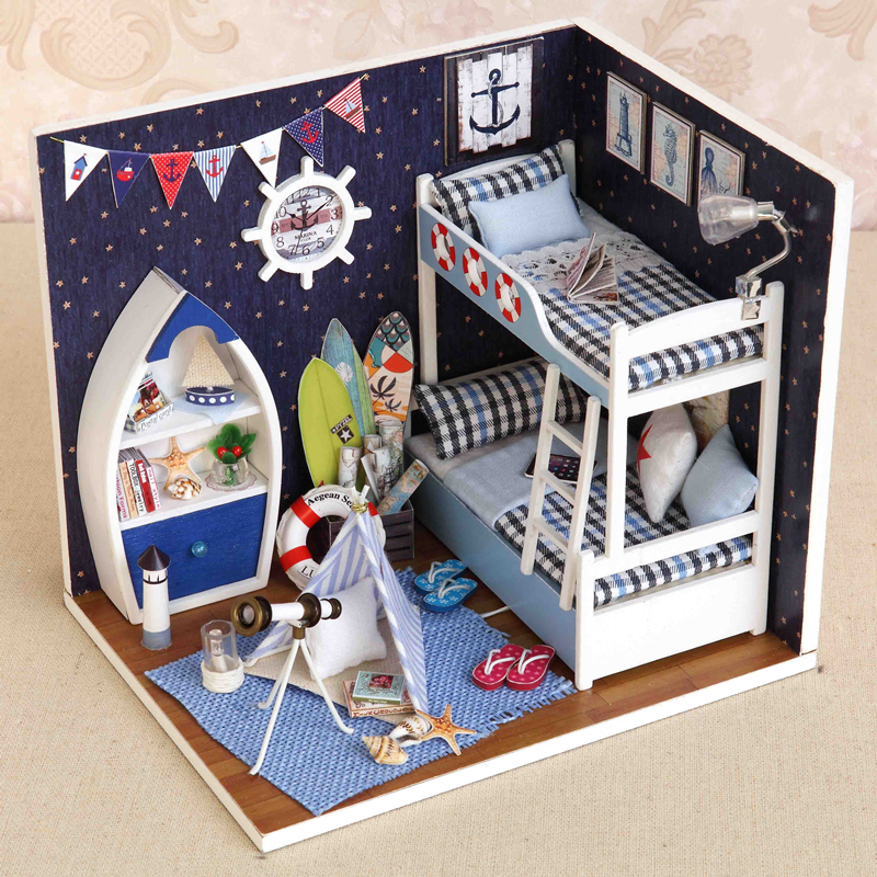 Elegant DIY Model Miniature Dollhouse With Furnitures LED 3D Wooden House Toys Handmade Crafts Gifts To Children H011 #D