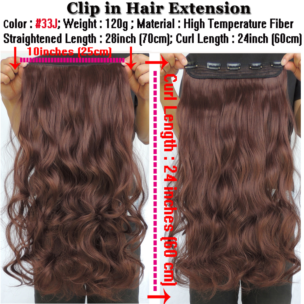 Copper Brown Curly Hair Extensions Synthetic Weave 5 Clip In