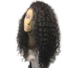 DLME side part curly wig natural synthetic lace front wigs with natural hairline african american women