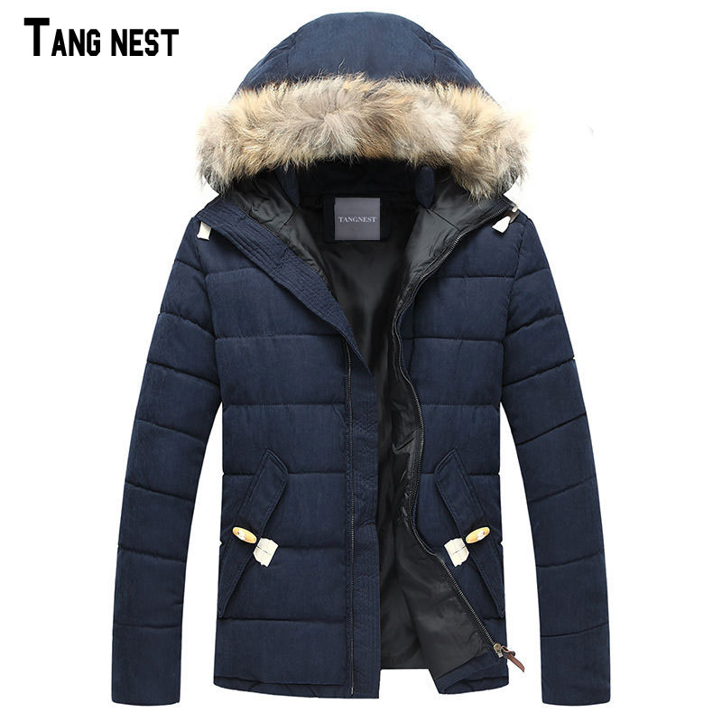 ФОТО TANGNEST Men Coats 2017 New Male Autumn&Winter Solid Casual Coats Men's Leisure Style Hooded Parkas Size M-3XL MWM555