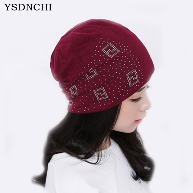 YSDNCHI Women Beanies 2017 Fashion Autumn Caps Windproof Hats Beanie Winter  Diamond Knitted Hat Pattern Girl Hip-hop Warm Bonnet 7a536a3c925c