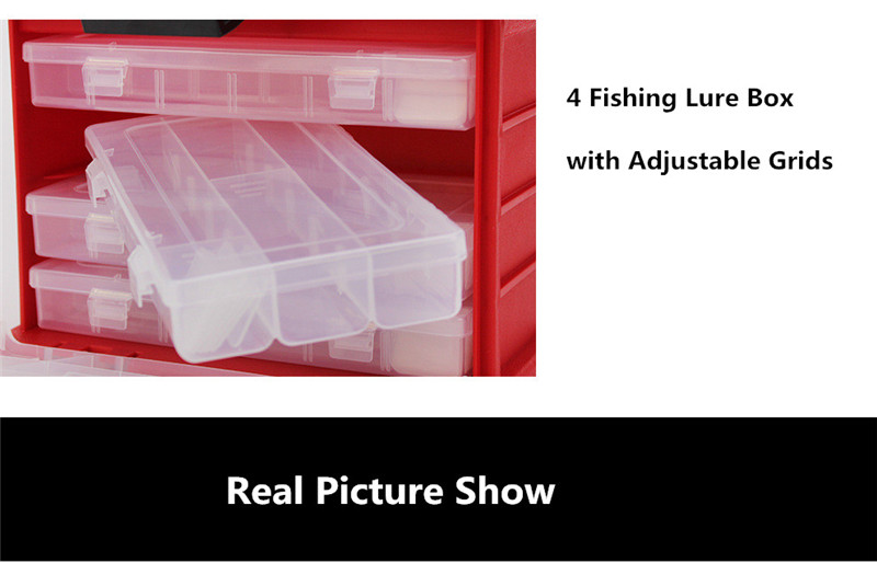 New 4 Layers Fishing Tackle Box Strong ABS Plastic Fishing Tools Container Big Fishing Accessories Box 27x17x26cm 4 Colors (20)