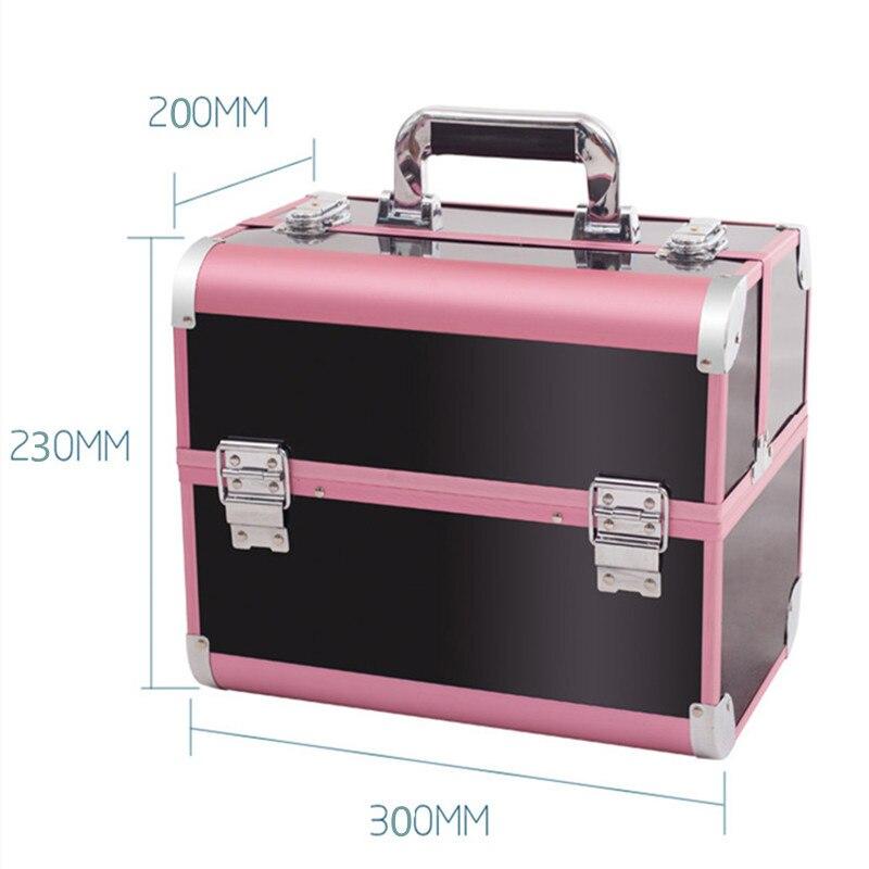 Ev ve Bahçe'ten Saklama Kutuları ve Kovaları'de Moda makyaj çantası Taşınabilir Kozmetik Kutusu makyaj kutusu Kutusu Bayan kozmetik düzenleyici 4 Renk Makyaj Kutusu Çantası Büyük Kapasiteli'da  Grup 3