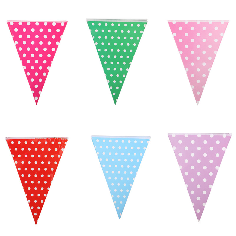 Set of 10 Paper Banners Pulling Flag Dot Hanging Flags Multi Colors For Wedding Birthday Party Celebration Accessories Decor