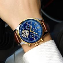 лучшая цена WISHDOIT  Men Watches Automatic Mechanical Watch Tourbillon Sport Clock Leather Casual Business Retro Wristwatch Relojes Hombre