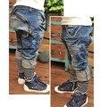 Мальчики моды джинсы детские kidsa случайные шаровары Весна Осень Мода Брюки Подходят для 3-7y *