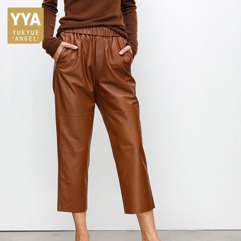 Brand New Women Black Casual Elastic Waist Wide Leg Harem Pants Luxury Genuine Leather Boyfriend Loose Fit Trousers Female Pants