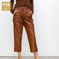 Brand New Women Black Casual Elastic Waist Wide Leg Harem Pants Luxury Genuine Leather Boyfriend Loose Fit Trousers Female Pants