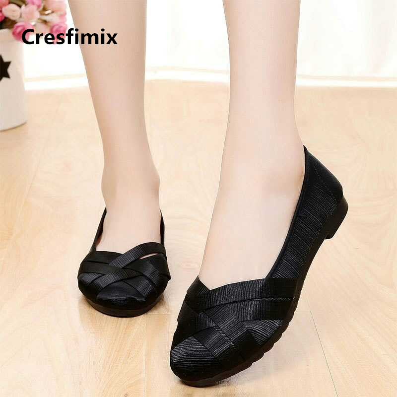 Cresfimix women fashion comfortable spring & summer slip on flat shoes lady cool cute black stripe shoes zapatos de mujer a2055 cresfimix sandalias de mujer women fashion black beach flat sandals lady cute solid comfortable plus size sandals with crystal