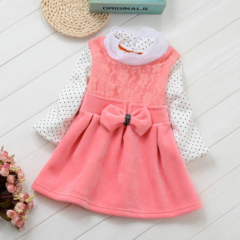 baby dresses for girls turtleneck long pot white sleeve princess dress winter velvet bow clothes of girl party wedding clothing