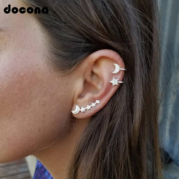 Docona 3pc Fashion Boho Crystal Moon Climbing Stud Earrings Sets for Women Pendientes Piercing Earring Gold Brincos Femme 6181 золотые серьги по уху
