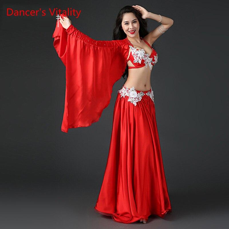 Women Professional Belly Dance Costume Set Luxury Bellydance Costumes Stage Performance Diamond Decoration Bras Skirt Set