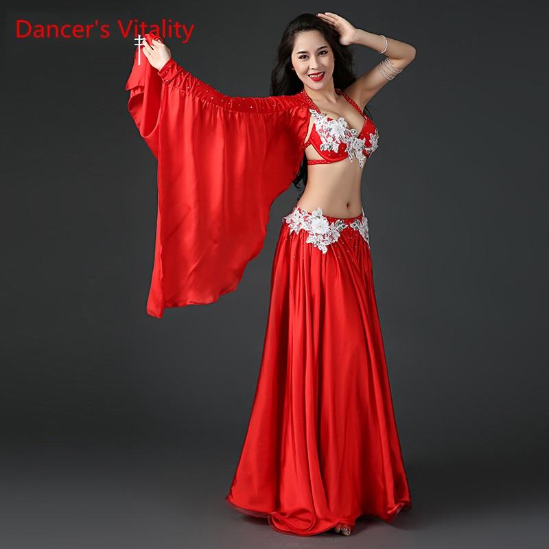 Women Professional Belly Dance Costume Set Luxury Bellydance Costumes Stage Performance Diamond Decoration Bras & Skirt Set