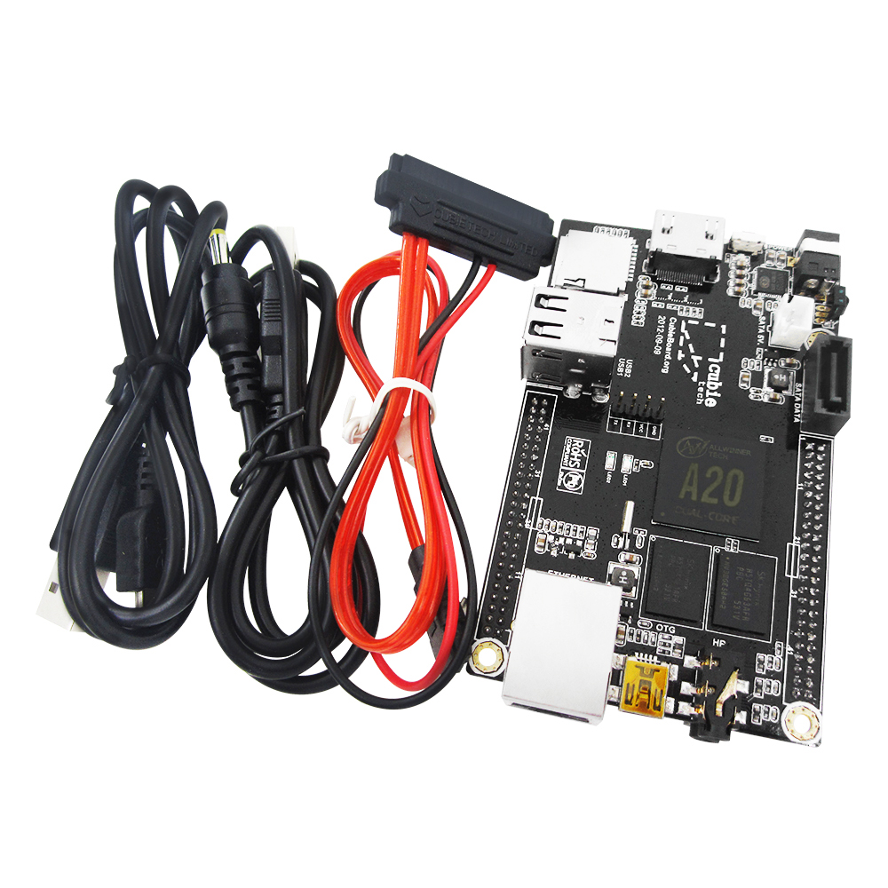 1 Set = 1pcs Raspberry Pi Mini PC Cubieboard 1GB ARM Development Board Cortex-A7 + SATA Cable+ 1pcs Power Supply Wire pc cubieboard2 cubieboard a20 arm cortex a7 dual core 1gb ddr3 development board with case cubieboard 2 super than raspberry pi