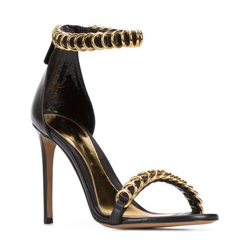 Zapatos Cuero Sandalias Tacones Verano Señoras Mujeres Oro Banda Altos Anillos Mujer A Gladiador De Eunice Choo Estrecha Metal g7xA6
