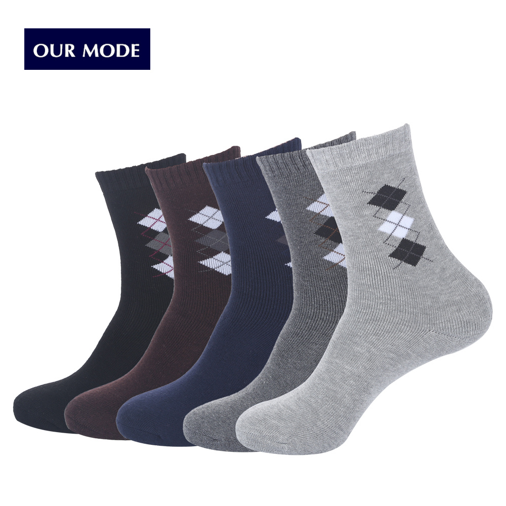 OUR MODE winter diamond lattice thicker thermal cotton socks for men brand business casual warm terry floor socks 1lot=5pairs