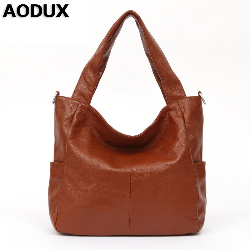 AODUX Large Size Genuine Leather Womens Shoulder Bags Long Strap Female Messenger Shopping Bag Handbags Ladies Satchel Purse