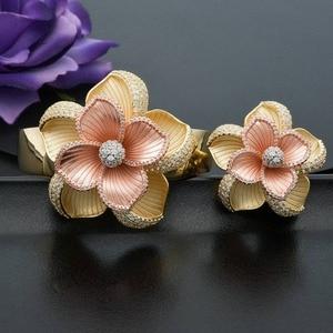 Image 2 - ModemAngel Luxury Large Bloom Flower Bracelet Bangle and Ring Set for Women Engagement Wedding Party