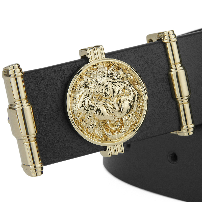 2019 Fashion Lion Golden Buckle High Quality Belts Mens Genuine Leather Boy Belt Cusual Ceinture Homme Male Waistband