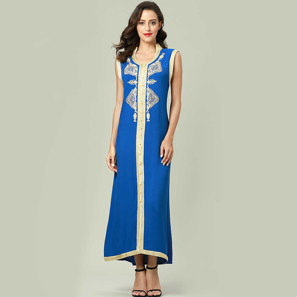 ... Women islamic clothing Maxi sleeveless long Dress moroccan Kaftan  embroidery dress vintage abaya Muslim Robes gown ... 8690f352d571