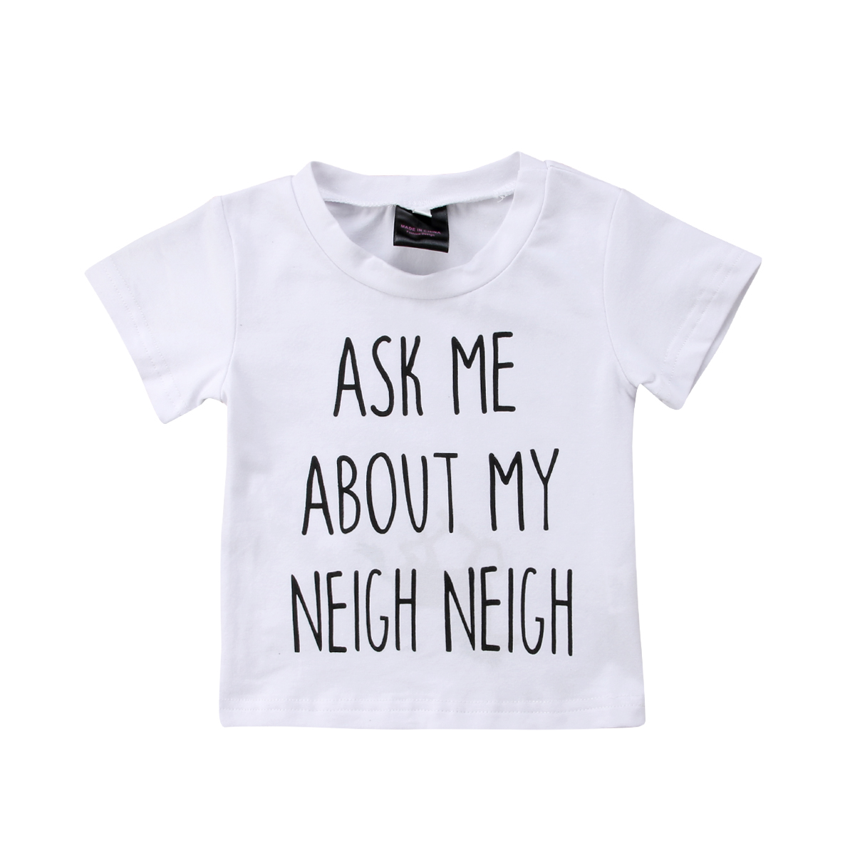 Toddler Baby Boy Girls Letter White Cotton Cute Horse Inside Printed T-shirt Top Clothes Blouse T Shirt Tees