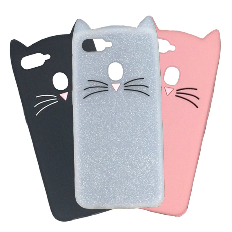 3D Cute Beard Cat Ears Case For Oppo F9 F7 F3 R17 A83 R7 R7s R9 R9s R11 R11s Plus A33 A37 A53 A57 A59 A77 Full Cover Fundas Capa