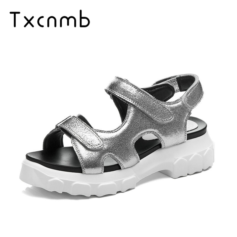 TXCNMB shoes woman 2019 Genuine leather Women Sandals Round Buckle Height Increasing All Match Comfortable Shoes