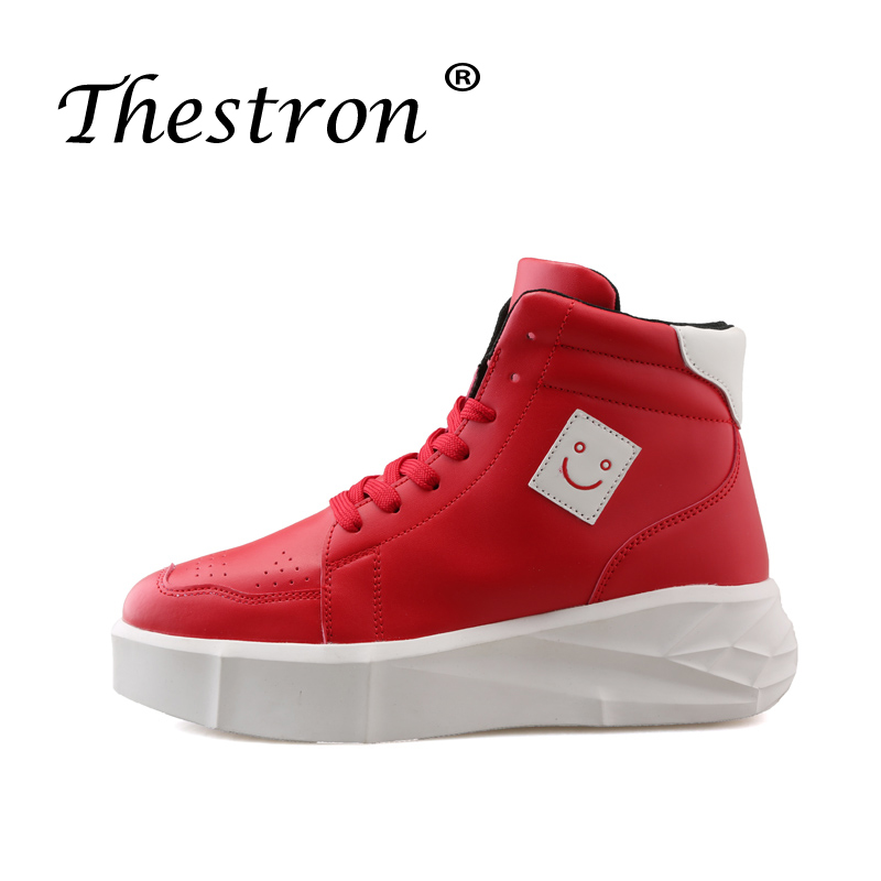 Trend Men Pu Leather Footwear High Top Designer Sneakers Fashion Casual Shoes For Men White Red Casual Adult Thick Soled Shoes