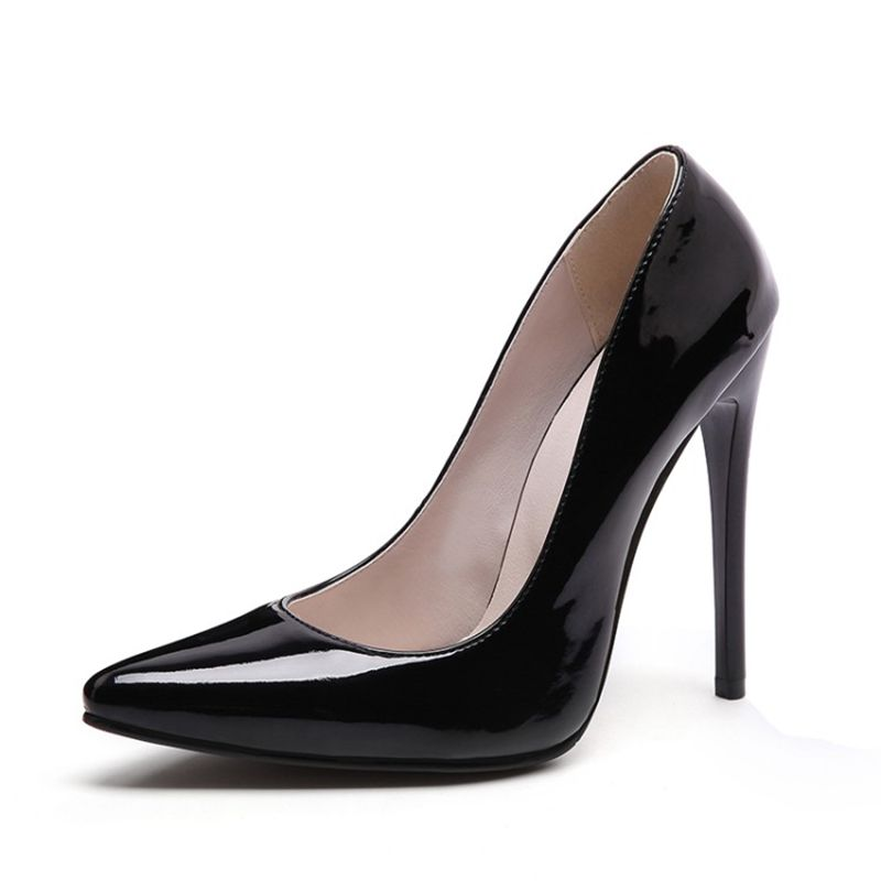 Spring Autumn Women Pumps Lady Shoes Big Size Patent Leather High Thin Heels Pointed Toe Fashion Party Slip On Shallow Solid in Women 39 s Pumps from Shoes