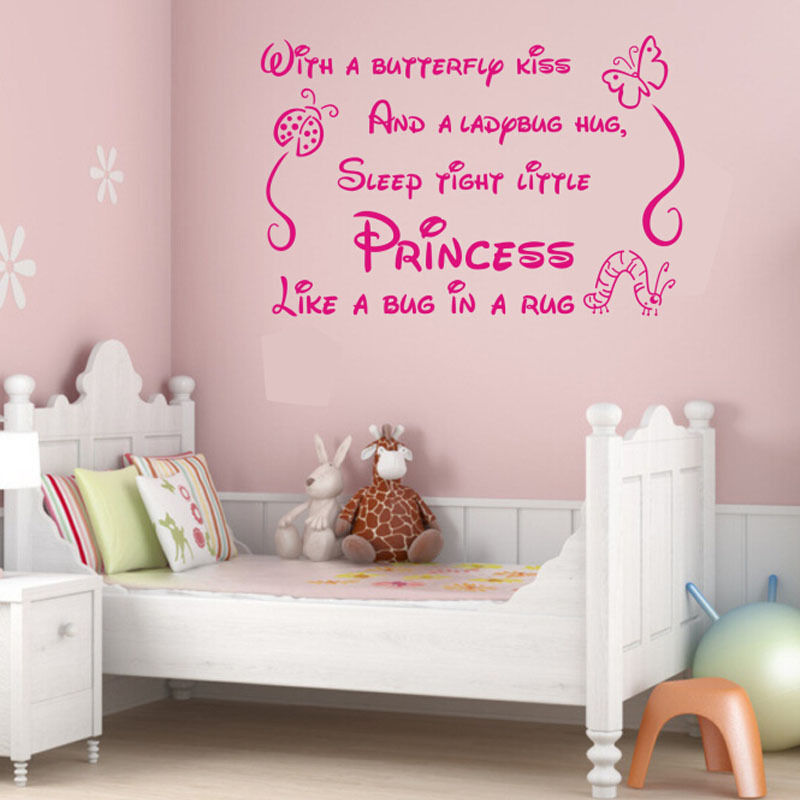 new princess quote lettering saying girl baby nursery bedroom wall