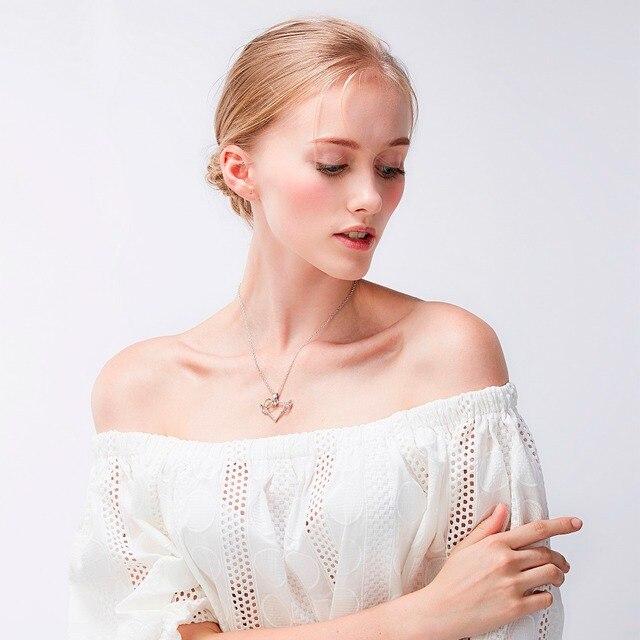 Silver Angel Wings Love Heart Pendant Necklace 5