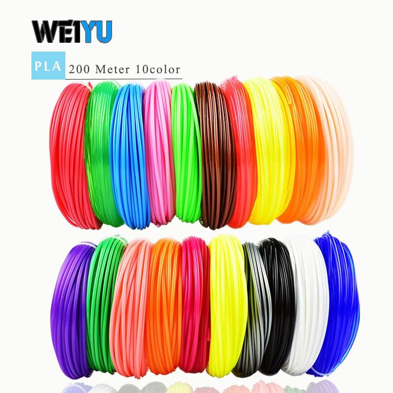 Filamento plástico dos carretéis do filamento do pla/abs da pena 3d multi-cores 100 m/200 m filamento 1.75mm impressora 3d diy impressora 3d