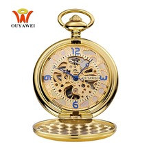 Top Brand OYW Mechanical Hand Wind Pocket Watch Men Retro Vintage Pendant Skeleton Design Full Steel Chain Pocket Fob Watch Saat(China)